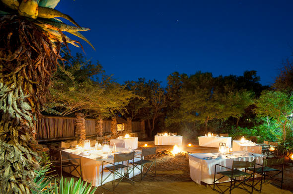 Dine at the Boma in the evening.